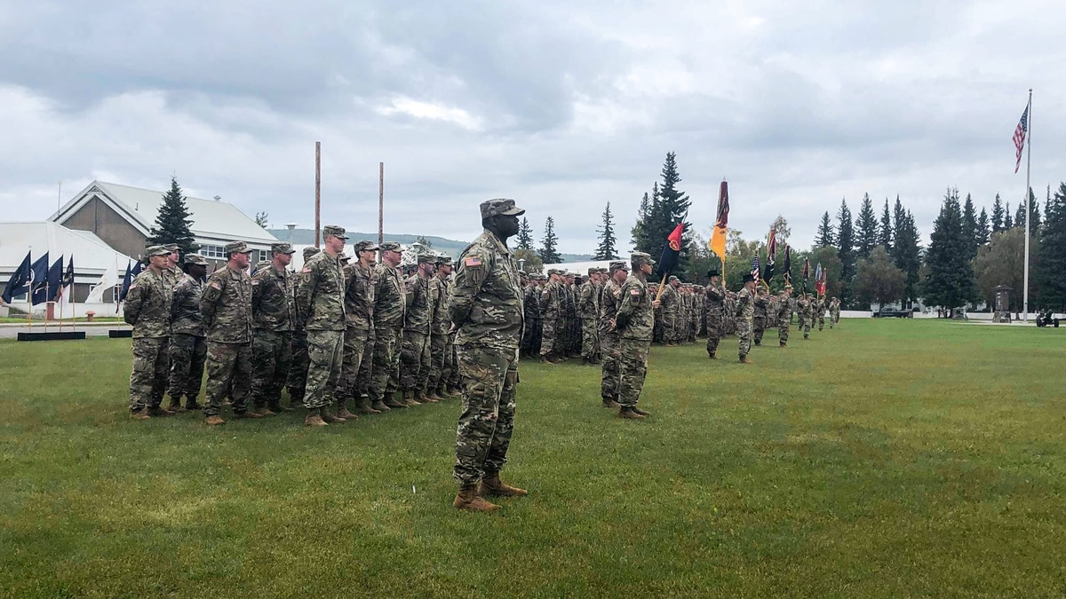 Close to 2,500 soldiers from the 1/25 Stryker Brigade Combat Team are heading off for their deployment to Iraq. On Friday, August 23, 2019, there was a 'Casing of the Colors' ceremony to honor the soldiers leaving for their deployment.  (Sara Tewksbury/KTVF)