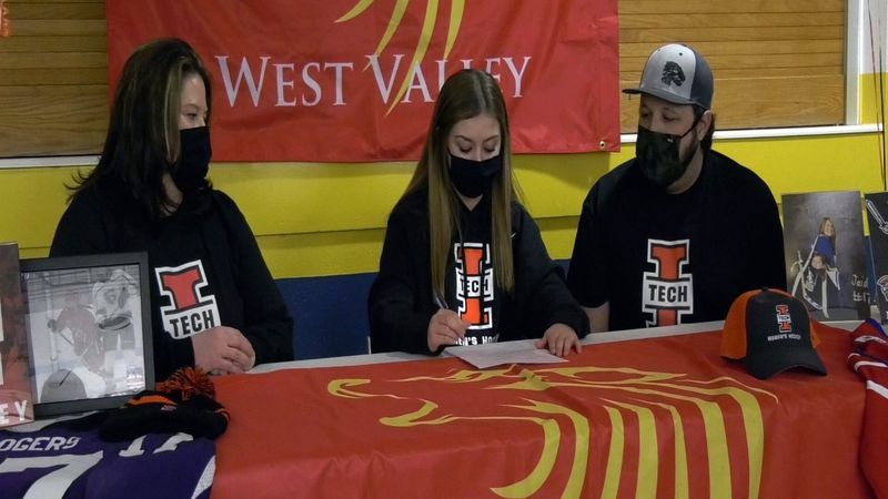 Jaiden Rogers signs her National Letter of Intent for the Indiana Tech Warriors women's hockey...