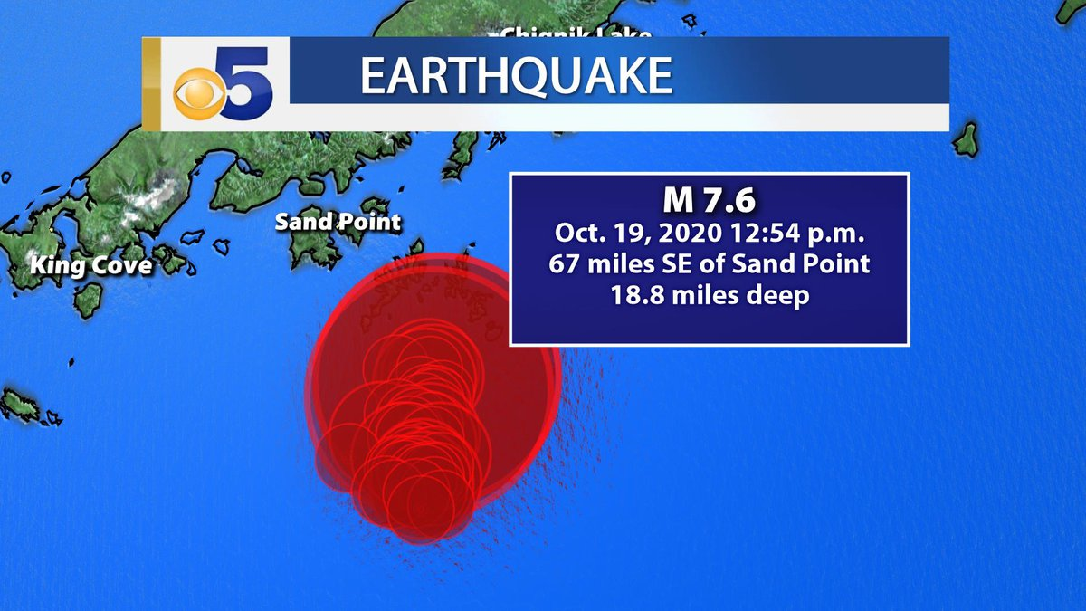 The Oct. 19, 2020 earthquake near Sand Point has been upgraded to magnitude 7.6 after...