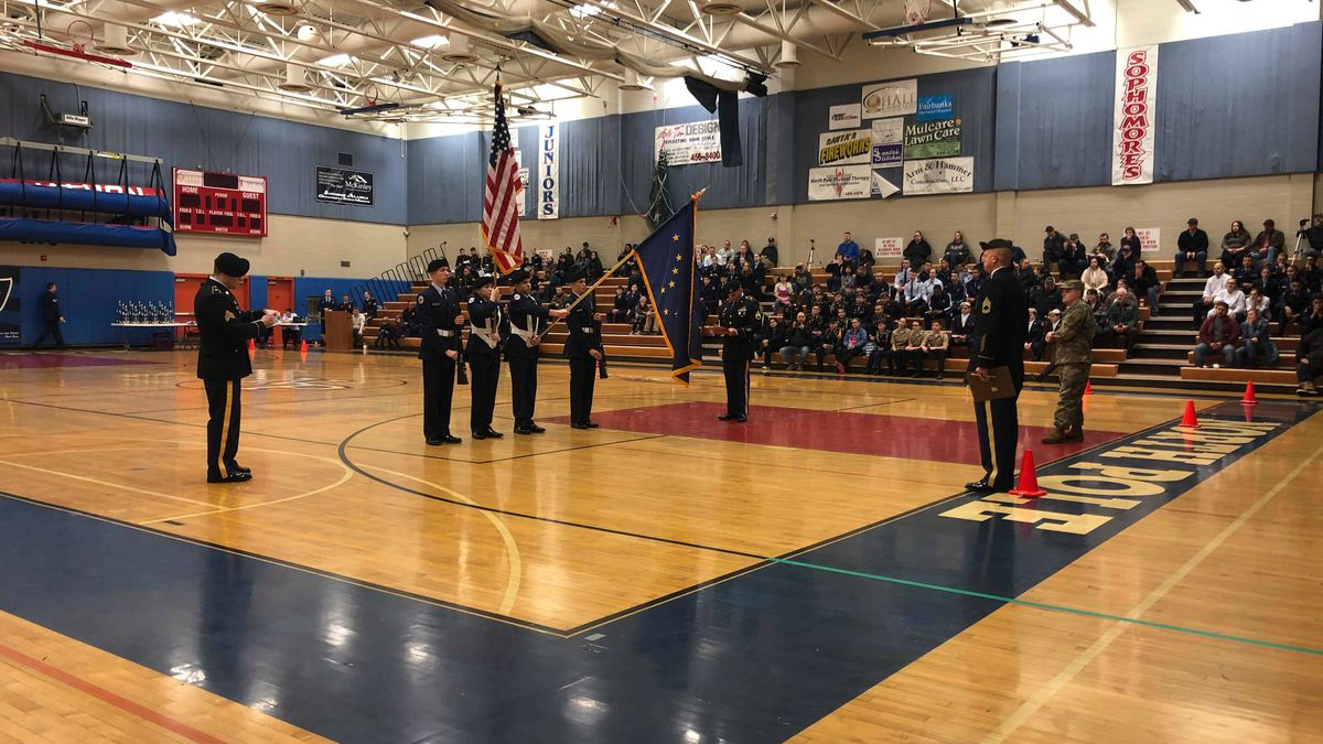Cadets during their performance at the Interior JROTC Drill Competition at North Pole High School. (Sara Tewksbury/KTVF)