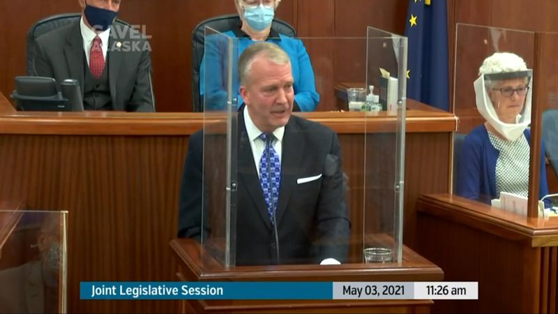 Senator Dan Sullivan addresses a joint session of the Alaska House and Senate.