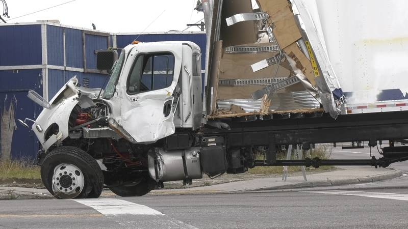 Lowes Truck after crash on South Cushman and Airport