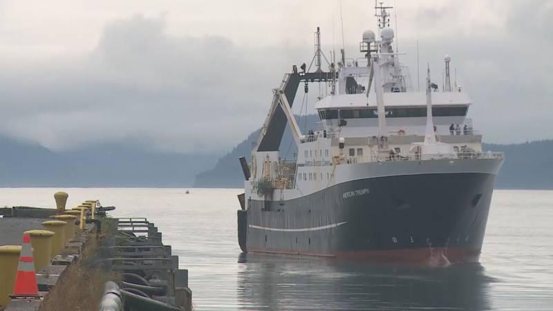 A factory trawler pulls into port in Seward, Alaska.