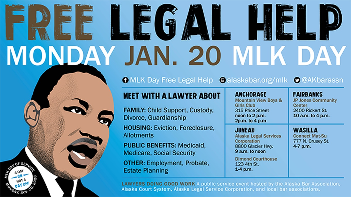"""""""MLK Day is a day of service, in service, for attorneys,"""" says Rachael Delehanty, a Staff Attorney with Alaska Legal Services Corporation, one of the event's organizers. (Alaska Bar Association, the Alaska Court System, Alaska Legal Services Corporation, and Tanana Valley Bar Association in partnership with Alaska Public Media)"""