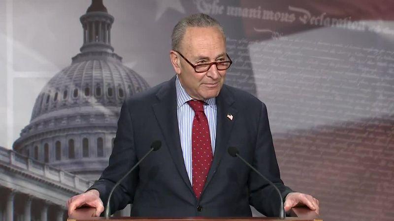 Senate Majority Leader Chuck Schumer outlines the Senate agenda for the coming year on Thursday.