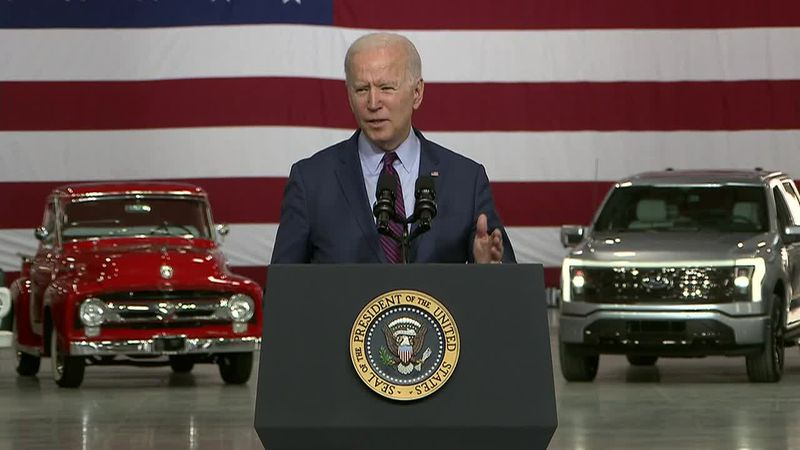 President Joe Biden delivers remarks at the Ford Electric Vehicle Center.