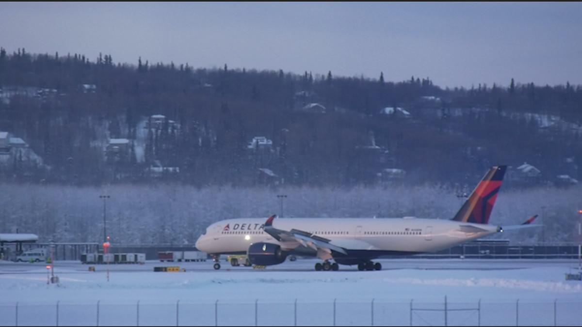 Delta flight 159 makes an emergency landing at Fairbanks International Airport Tuesday...