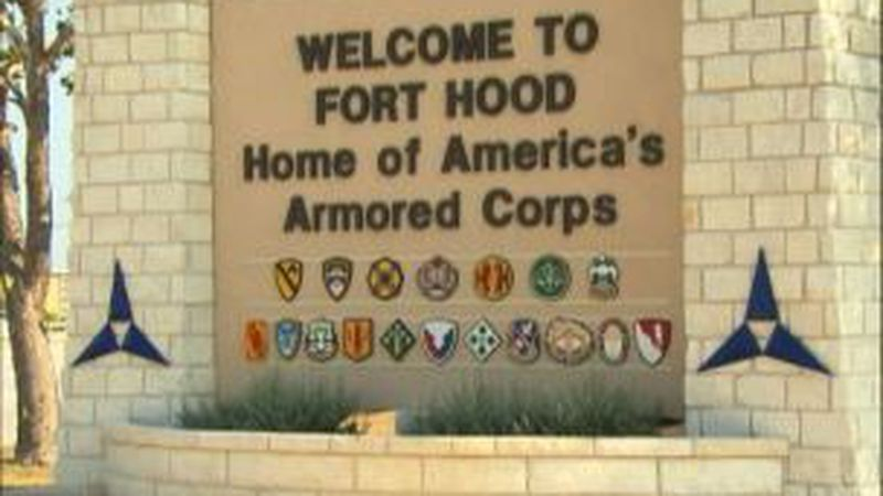 An image showing a sign outside Fort Hood, an U.S. Army post located in Killeen, Texas. A...