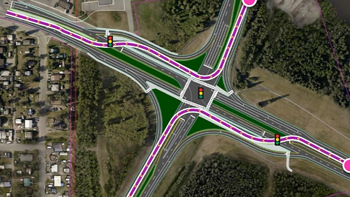"One of the options the DOT is presenting at the open house for the Airport Way/Steese Expressway Interchange project on February 19 is a ""Continuous Flow Intersection"", which allows vehicles to make a left turn several hundred feet before the intersection. (AK DOTPF)"