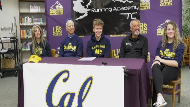 Lathrop's Riley Knott (center) signs his NLI to UC Berkeley Track and Field as a decathlete.