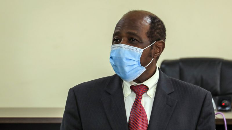Paul Rusesabagina appears in front of media at the headquarters of the Rwanda Bureau of...