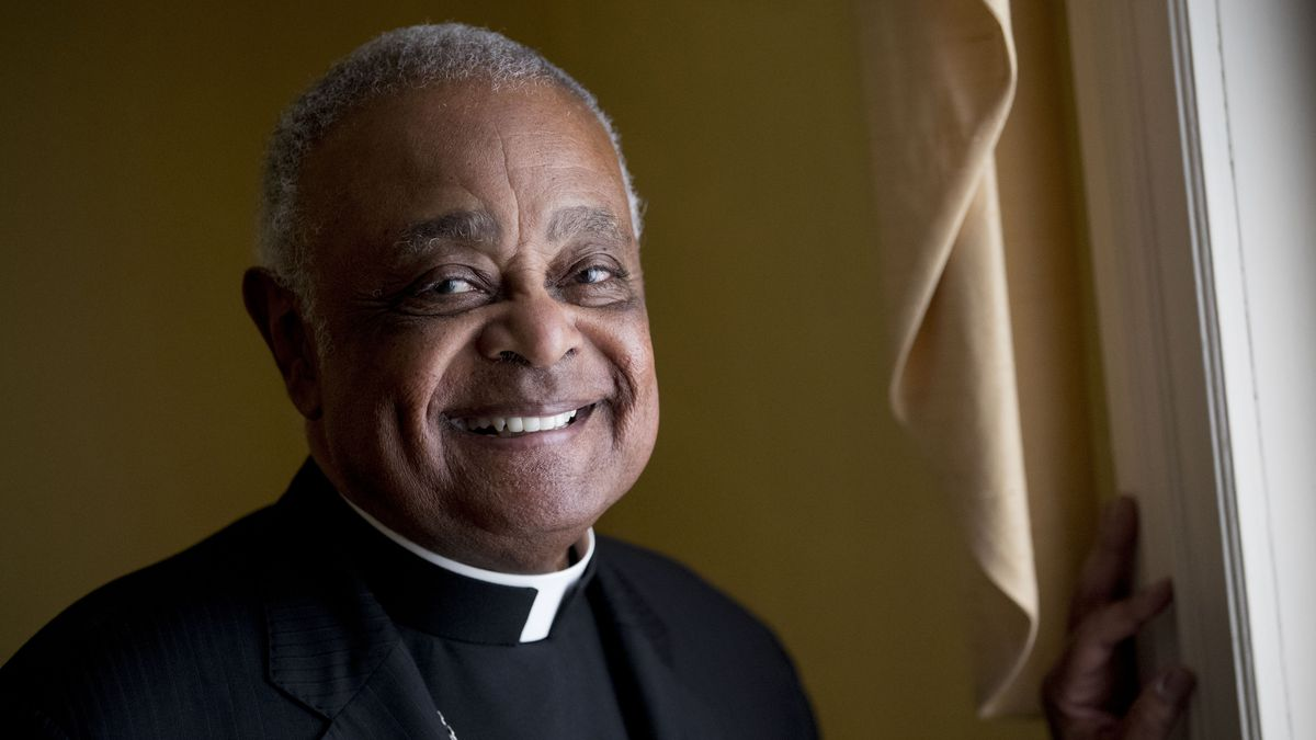 FILE - This Sunday, June 2, 2019 file photo shows Washington, D.C. Archbishop Wilton Gregory...