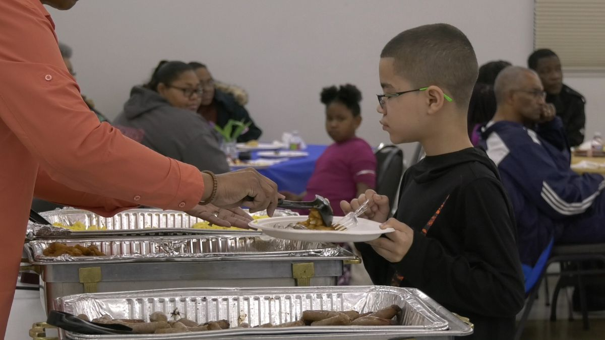 A student getting breakfast at the Annual Youth Breakfast to celebrate Martin Luther King Jr. Day. (Sara Tewksbury/KTVF).