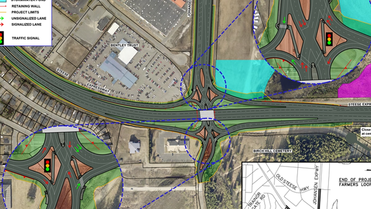 The project will force DOT to negotiate right-of-ways with property owners at every side of the intersection. (DOT)