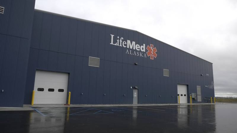 The exterior of a new hanger LifeMed Alaska just finished building. The hanger allows them to...