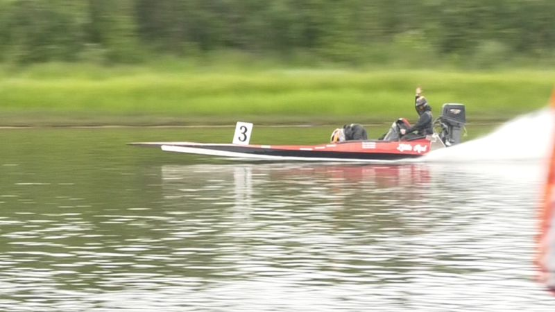 Team Mahler Racing, on their boat 'Lil Red', takes off from Pike's Landing Saturday for the...