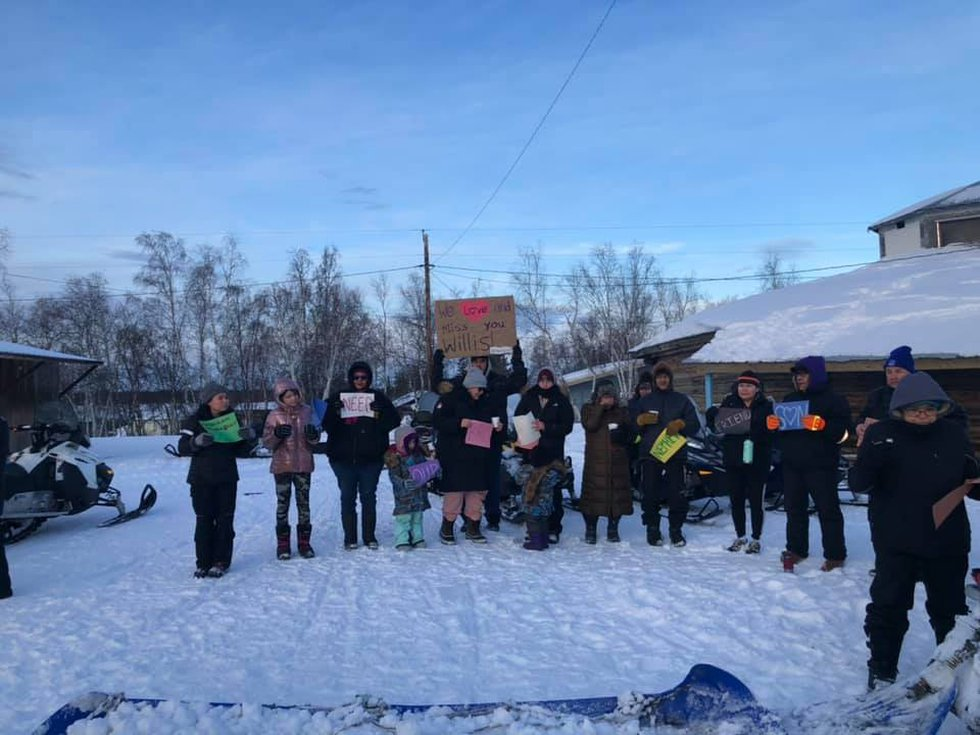 Huslia community members gather for a call to action and prayer for missing person Willis...