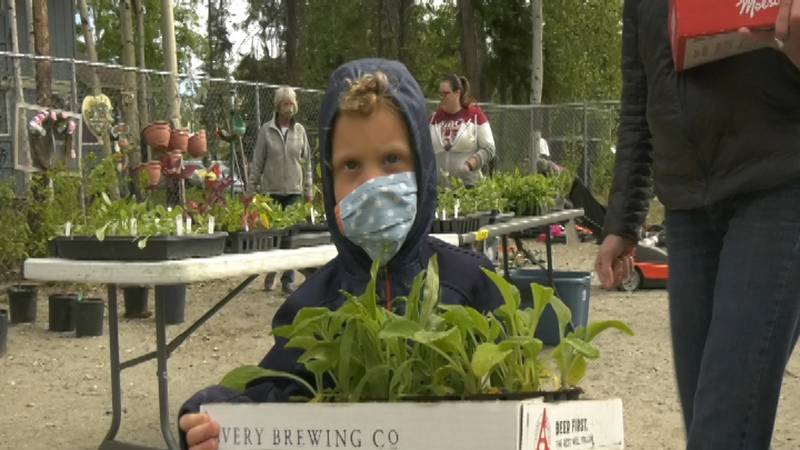A tiny grower assists his mother in picking out plants. All proceeds from Saturday's sale...