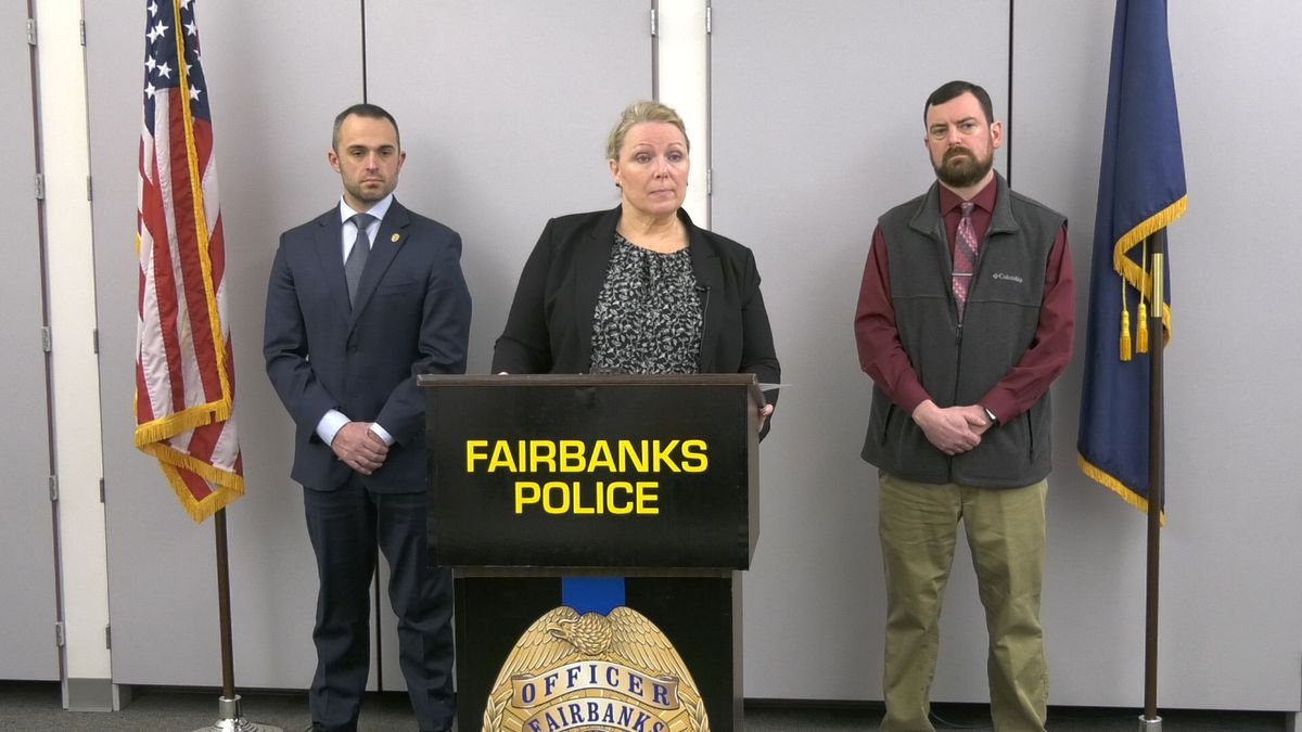 Fairbanks Police Chief Nancy Reeder joined by District Attorney Joe Dallarie and FPD Detective Avery Thompson for a press conference about the investigation into Kristen Huntington's death. (John Dougherty/KTVF)