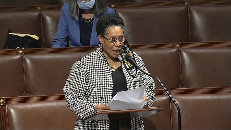 In this image from video, Rep. Marcia Fudge, D-Ohio, speaks on the floor of the House of...