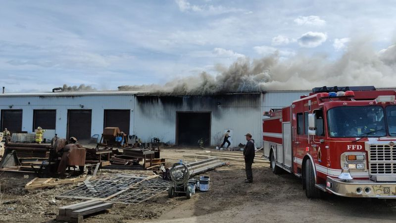 Multiple fire departments are currently on the scene of a structure fire located in a building...