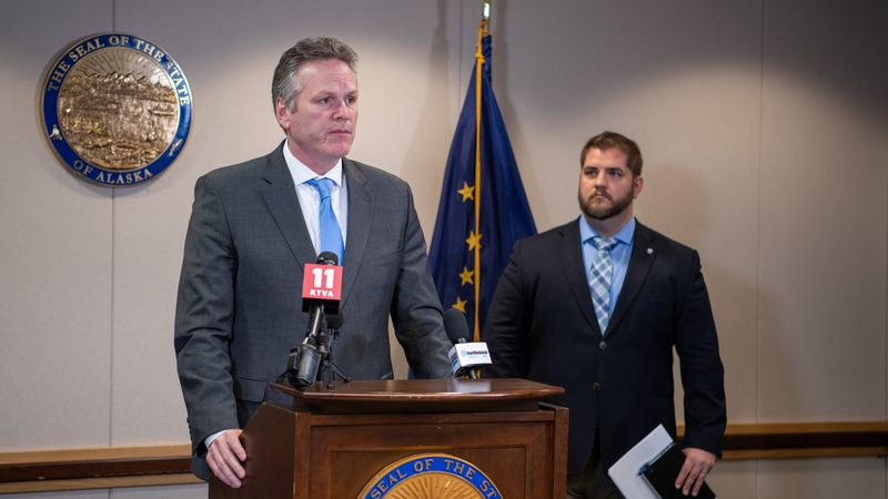 FILE PHOTO June 30, Alaska Governor Mike Dunleavy and State health officials updated the media...