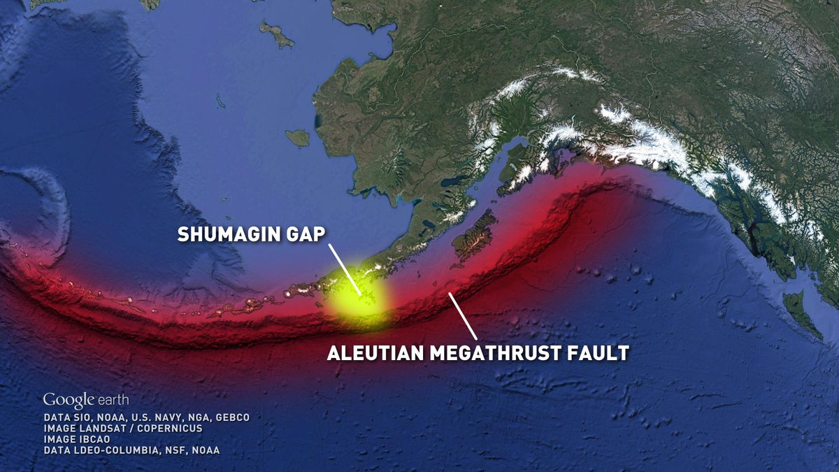 The Aleutian Megathrust fault and the Shumagin Gap