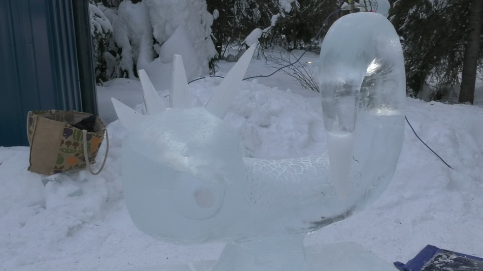 This ice sculpture was made by Oliver and Leo Shephard.