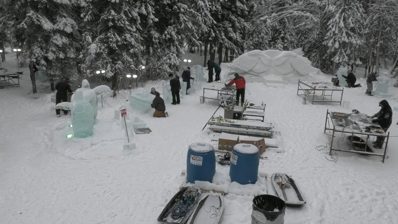 The Youth Classic Ice carving competition at Ice Alaska features many carvings made by young...