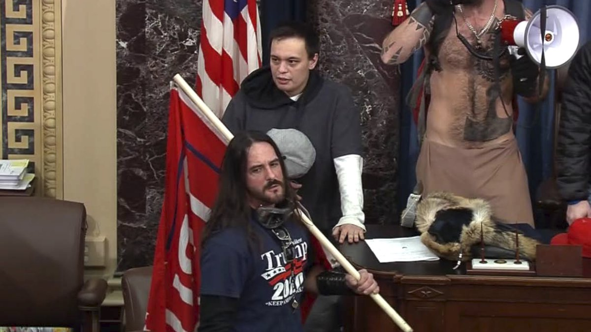 In this file image from U.S. Capitol Police video, Paul Allard Hodgkins, 38, of Tampa, Fla.,...