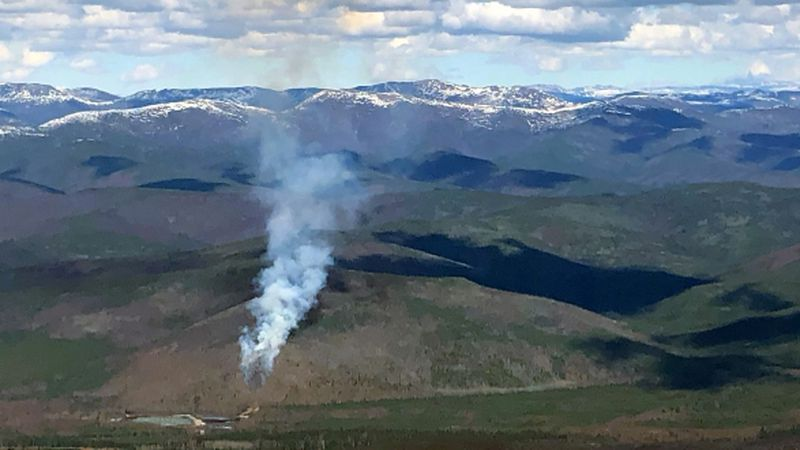 A fire burns at the Chena Hot Springs Road shooting range on Saturday. (Photo Credit: Alaska...