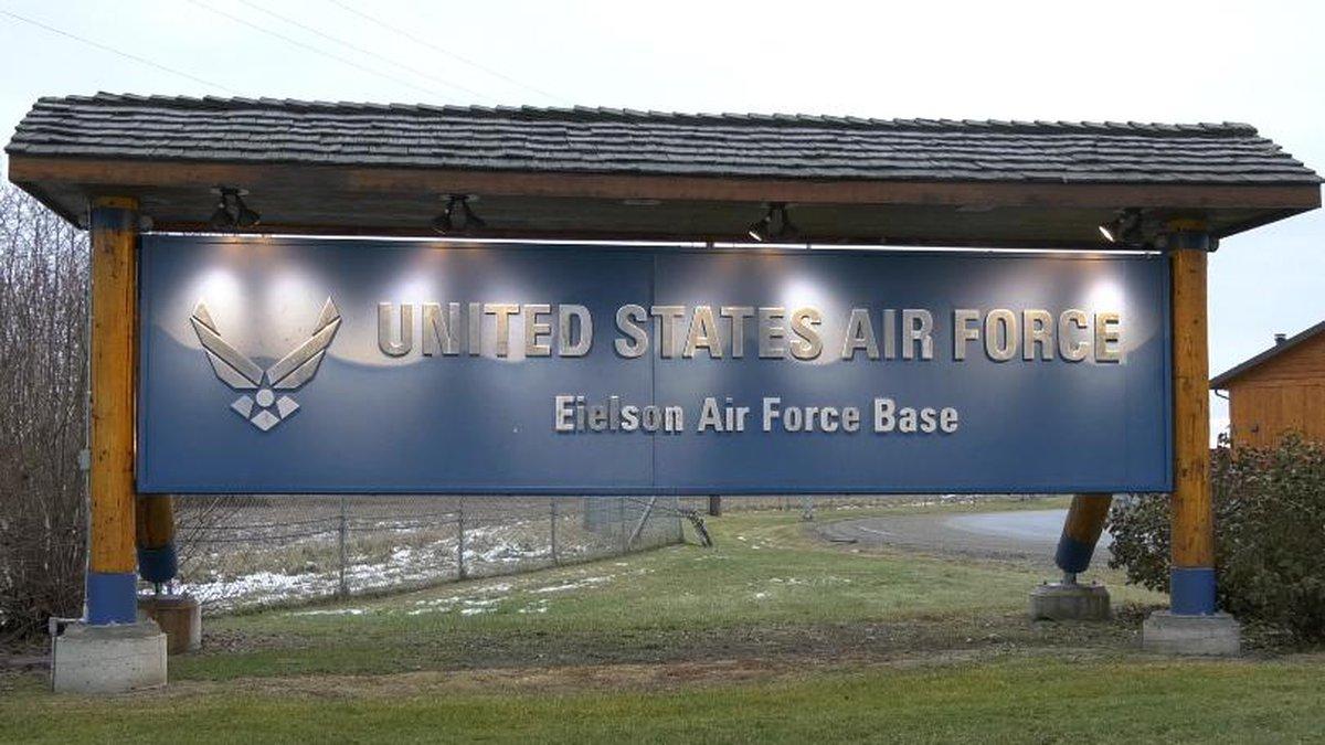 Eielson Air Force Base front gate (Sara Tewksbury/KTVF)