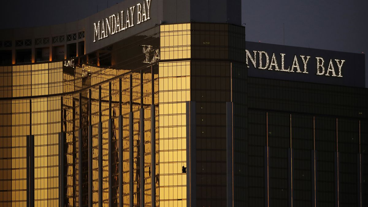 FILE - In this Oct. 3, 2017, file photo, windows are broken at the Mandalay Bay resort and...