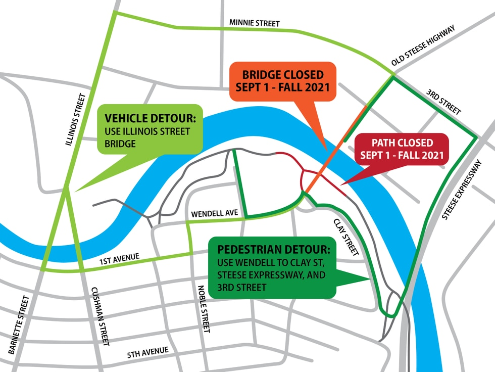 DOT has released a map showing vehicle and pedestrian detours during the closure of the Wendell...