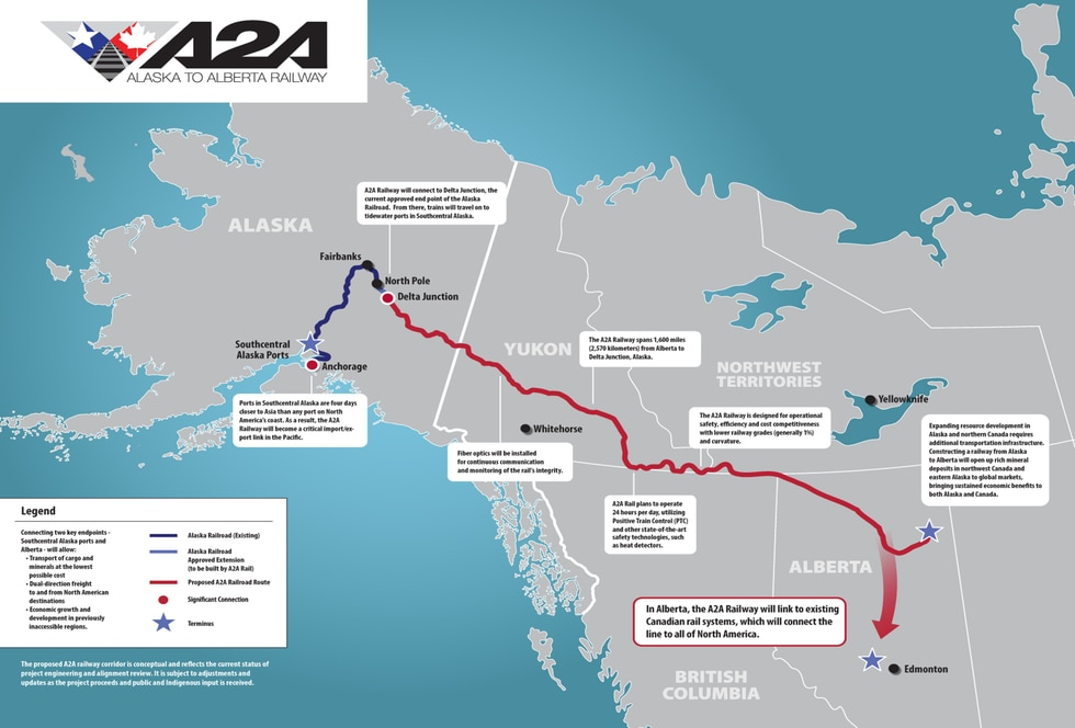 The proposed route of the A2A railway which would connect the Alaska Railroad to the rest of...