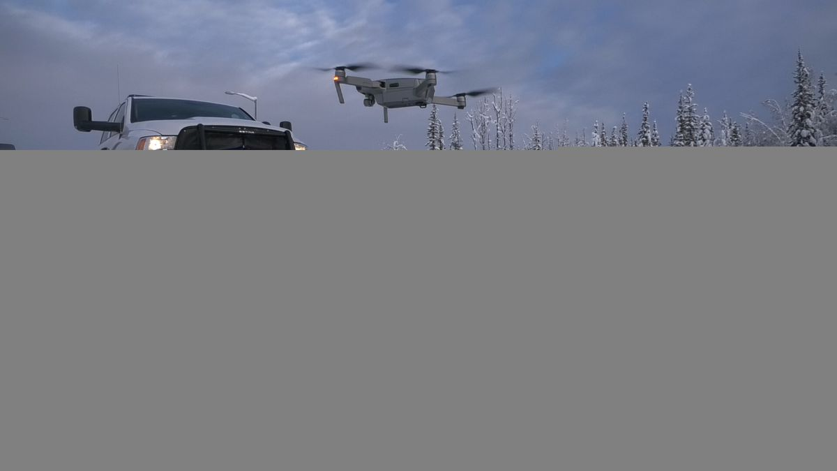 An ACUASI DJI Drone takes off to assist troopers in conducting a welfare check. (John Dougherty/KTVF)