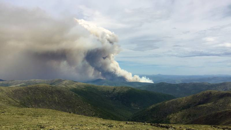 The smoke column from the Munson Creek Fire as seen Friday, July 2 from the top of Chena Dome. ...