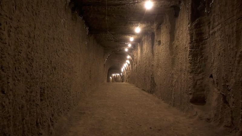 A newly completed section of tunnel is seen in the Permafrost Tunnel Research Facility. The...