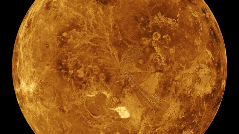 The northern hemisphere is displayed in this global view of the surface of Venus as seen by...