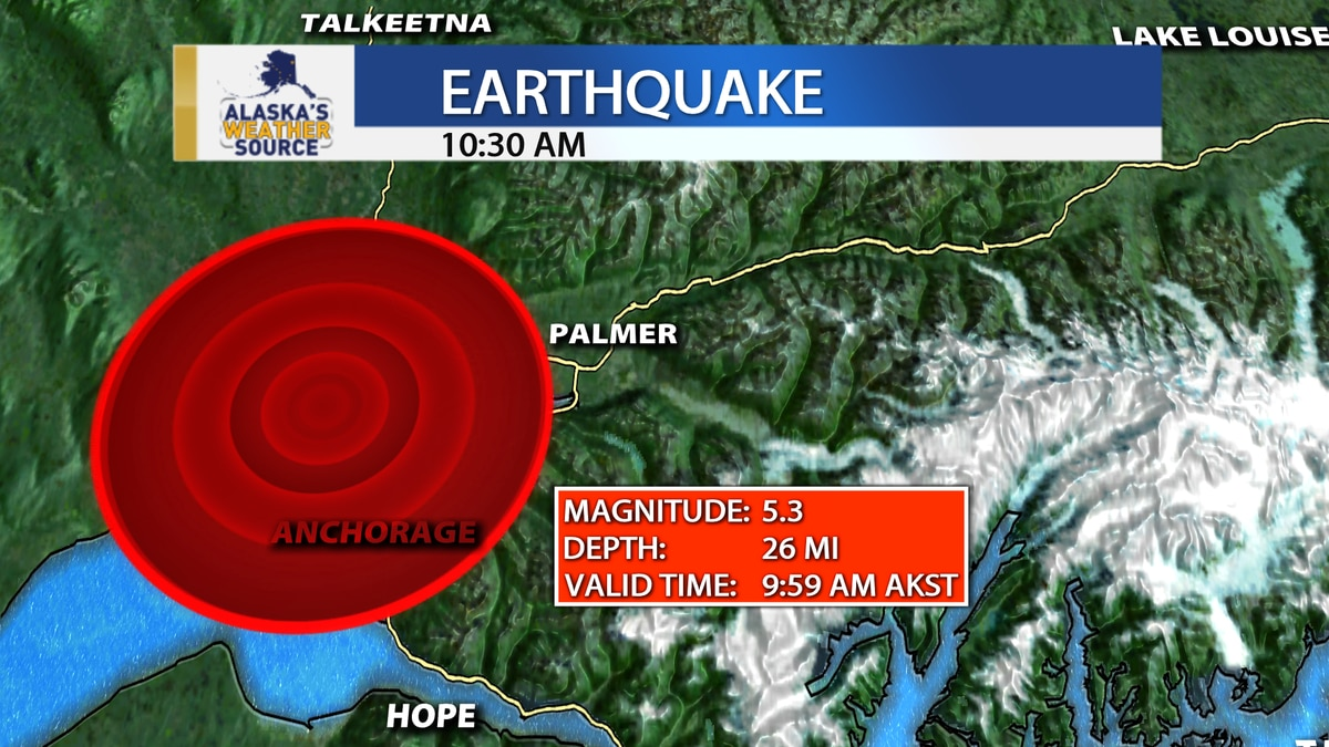 A magnitude 5.3 earthquake hit around 8 miles northwest of downtown Anchorage near Point...