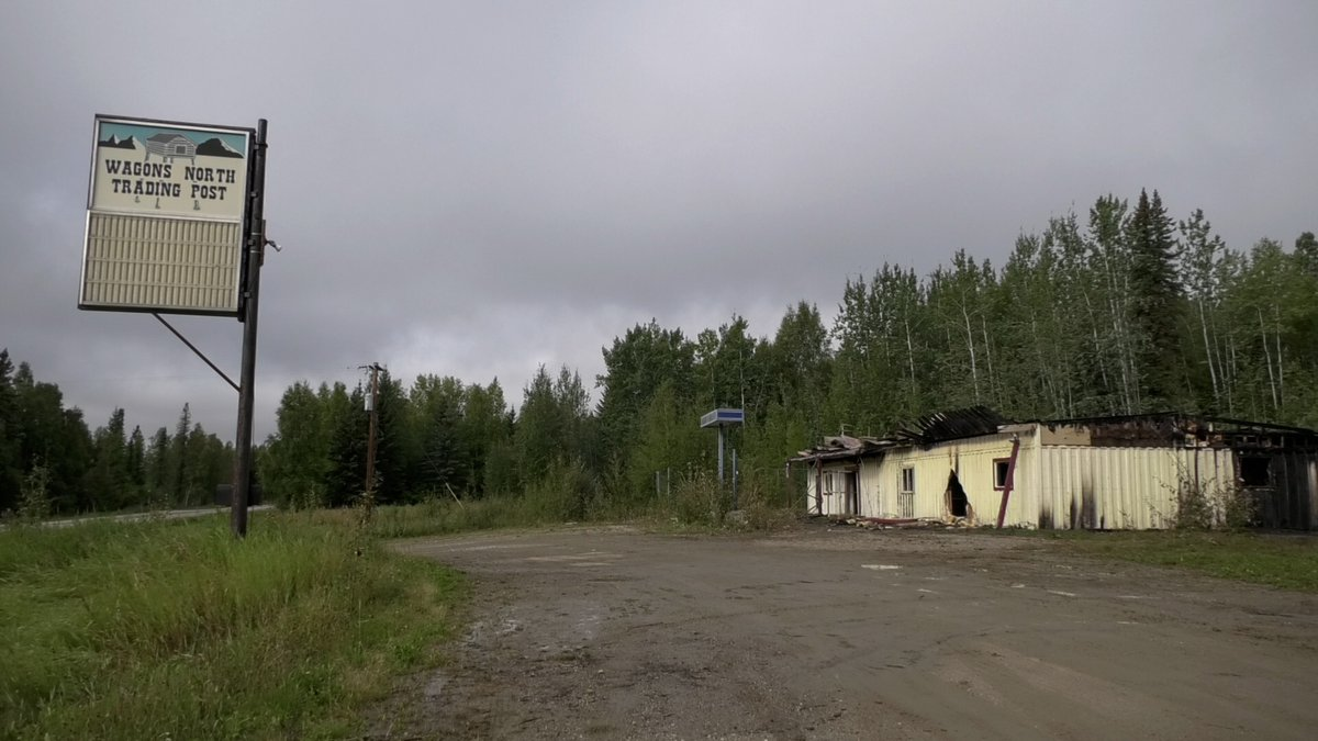 The burned shell of the vacant Wagons North Trading Post is seen at 10-mile Chena Hot Springs...
