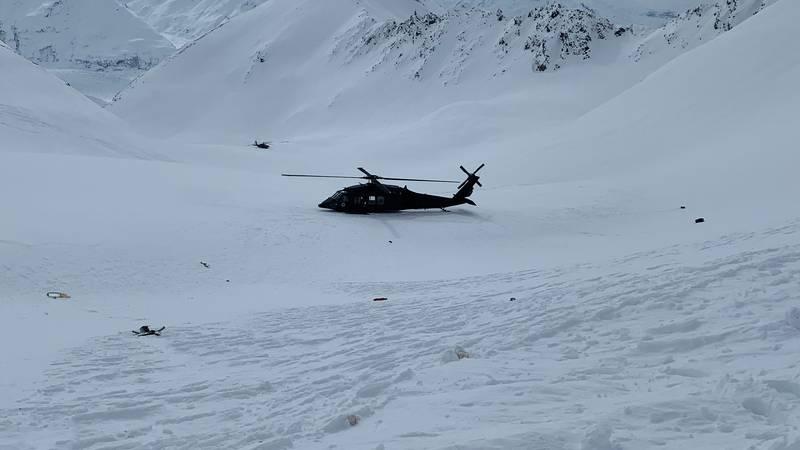 An Alaska Army National Guard helicopter near the crash site near Knik Glacier.