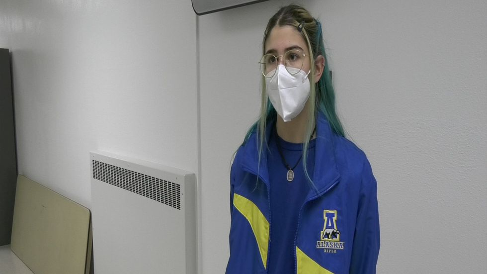Alaska Nanooks rifle athlete Marina Gonzales Mazo during an interview with KTVF.