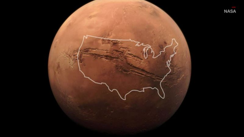 A massive Martian gorge captured on camera stretches the length of the entire United States.