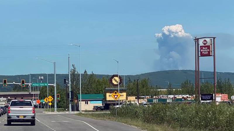 Smoke from the Haystack Fire north of Fairbanks. This photo was taken from Peger Road in...