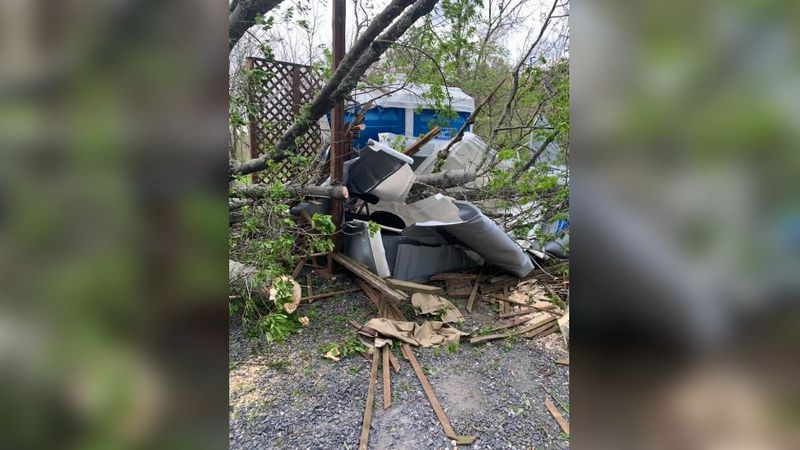 A fallen tree trapped a man inside a portable toilet at Gettysburg National Military Park. Fire...