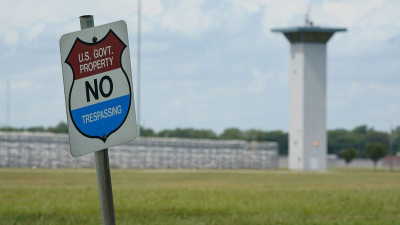 In this Aug. 28, 2020, file photo, a no trespassing sign is displayed outside the federal...