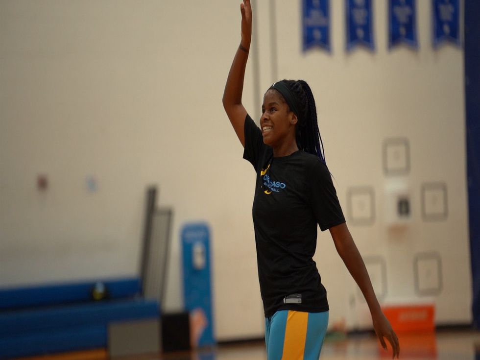 Ruthy Hebard practices down in Florida. (Chicago Sky/Amber Del Rio, July 9, 2020)