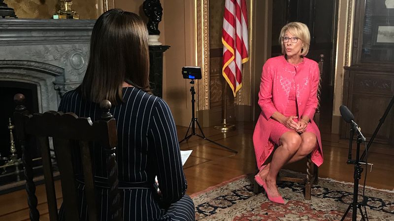 Washington Bureau Chief Jacqueline Policastro interviews Education Secretary Betsy DeVos at the...