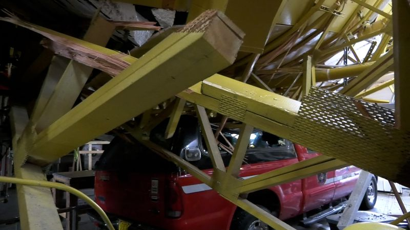 The roof at the Ester Volunteer Fire Station collapsed early Sunday due to heavy snow. Four of...